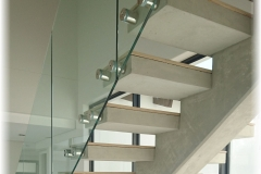 1b. Straight Flight Floating Staircase with Wood Finish